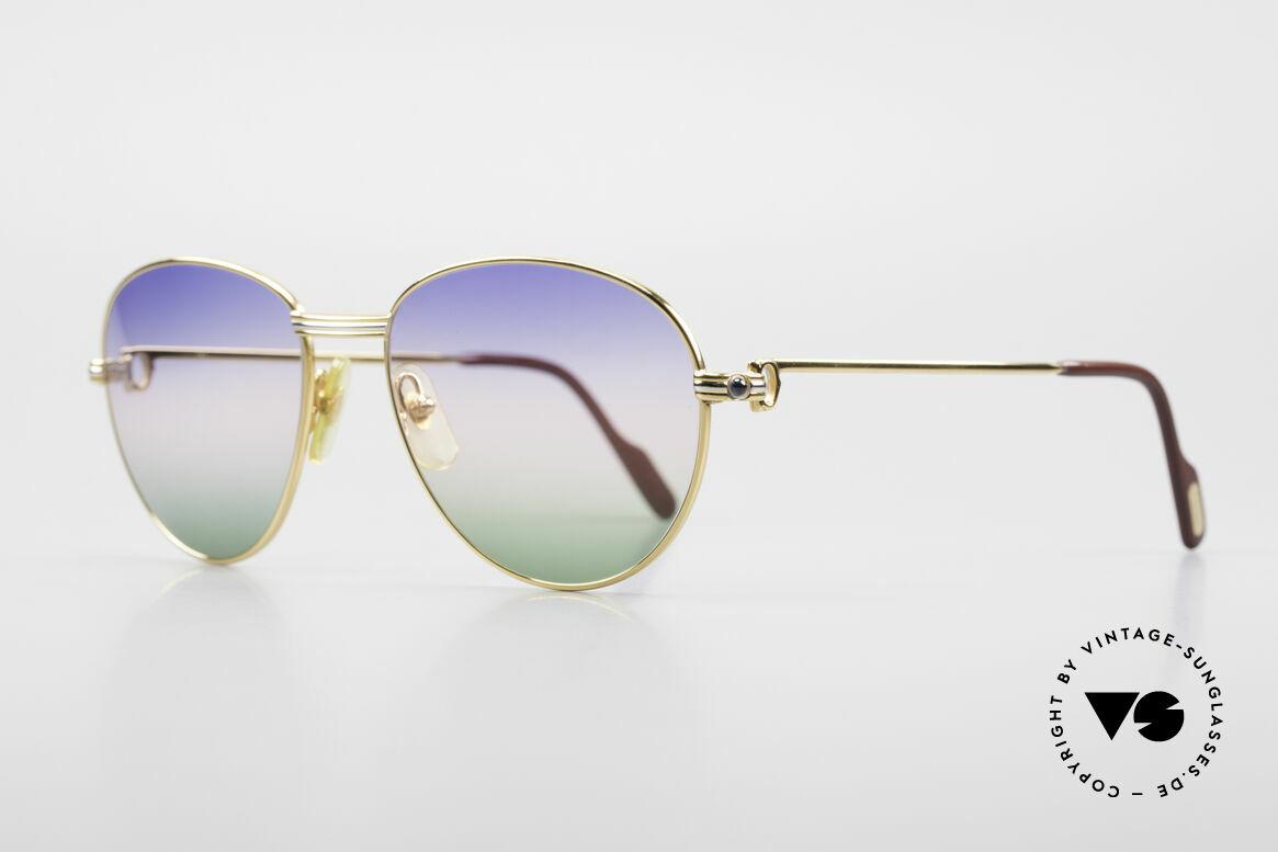 Cartier S Saphirs 0,94 ct Edelstein Sonnenbrille Panto