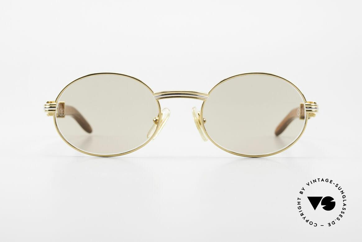 Cartier Giverny Ovale Edelholz Sonnenbrille, außergewöhnliche CARTIER vintage Luxus-Brille, Passend für Herren und Damen