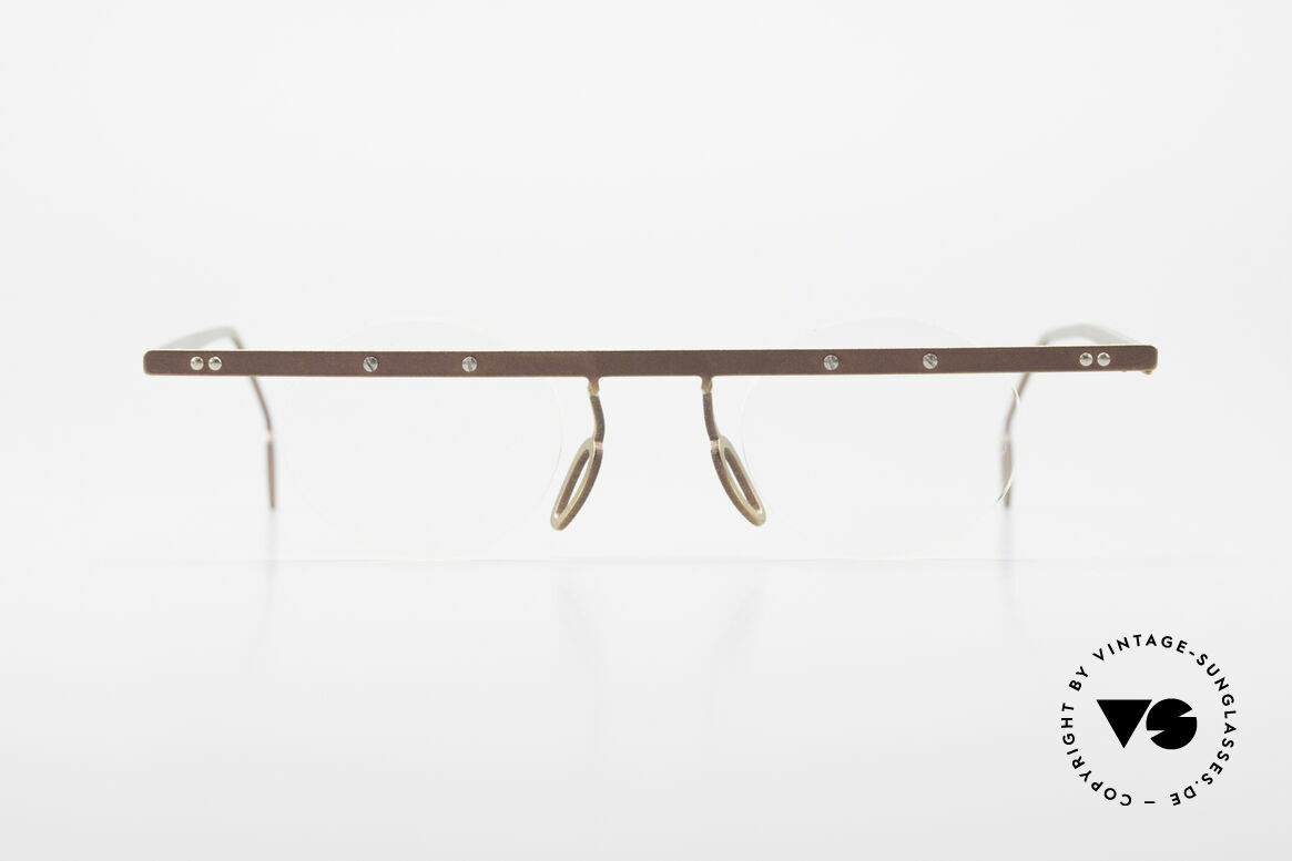Theo Belgium Tita VII 9 Titanium 90er Vintage Brille, in 1989 gegründet als 'ANTI MAINSTREAM' Brillenmode, Passend für Herren und Damen