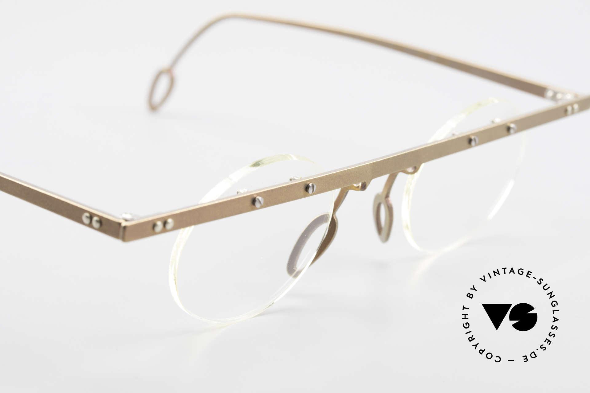 Theo Belgium Tita VII 9 Titanium 90er Vintage Brille, die Gläser sind mit Schrauben am Titan-Rahmen fixiert, Passend für Herren und Damen