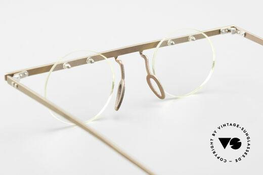 Theo Belgium Tita VII 9 Titanium 90er Vintage Brille, die runden Demo-Gläser können beliebig ersetzt werden, Passend für Herren und Damen
