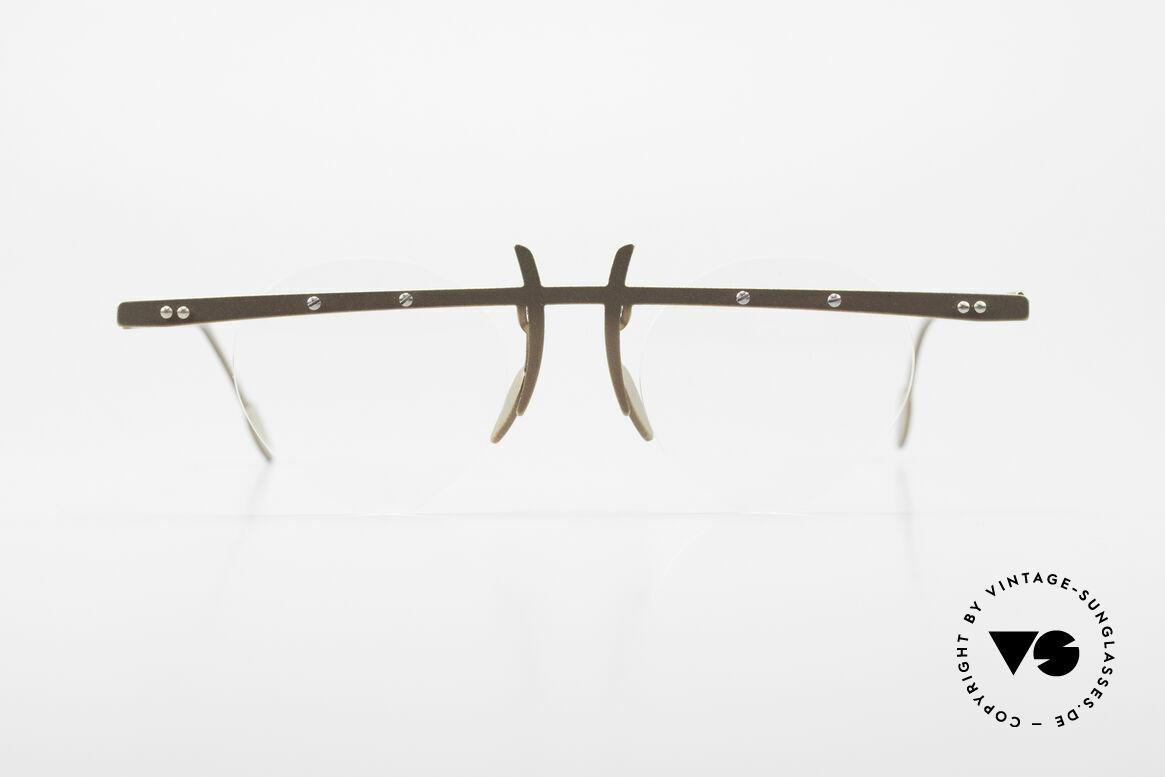 Theo Belgium Tita VI 9 Vintage Brille 90er Titanium, in 1989 gegründet als 'ANTI MAINSTREAM' Brillenmode, Passend für Herren und Damen