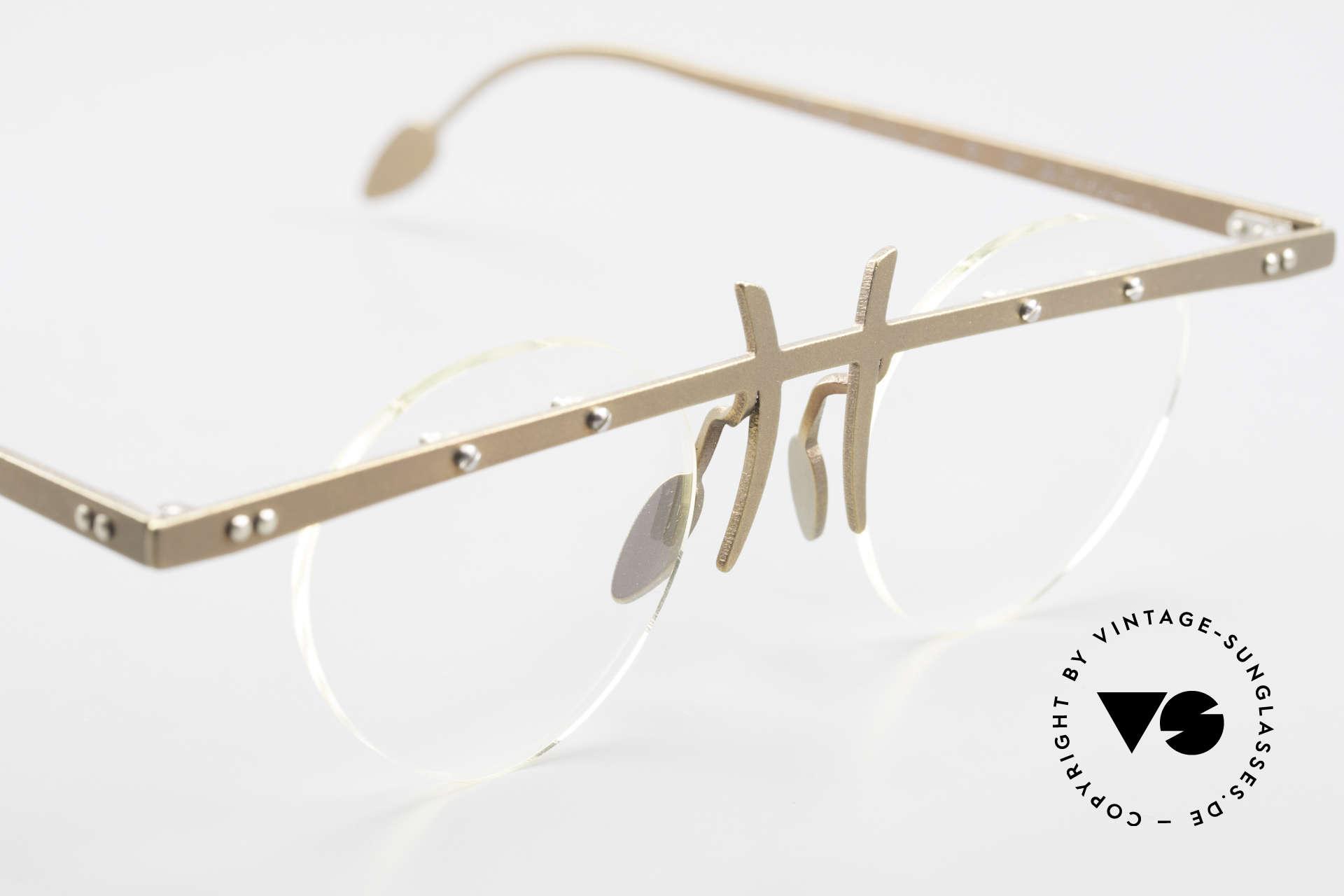 Theo Belgium Tita VI 9 Vintage Brille 90er Titanium, die Gläser sind mit Schrauben am Titan-Rahmen fixiert, Passend für Herren und Damen