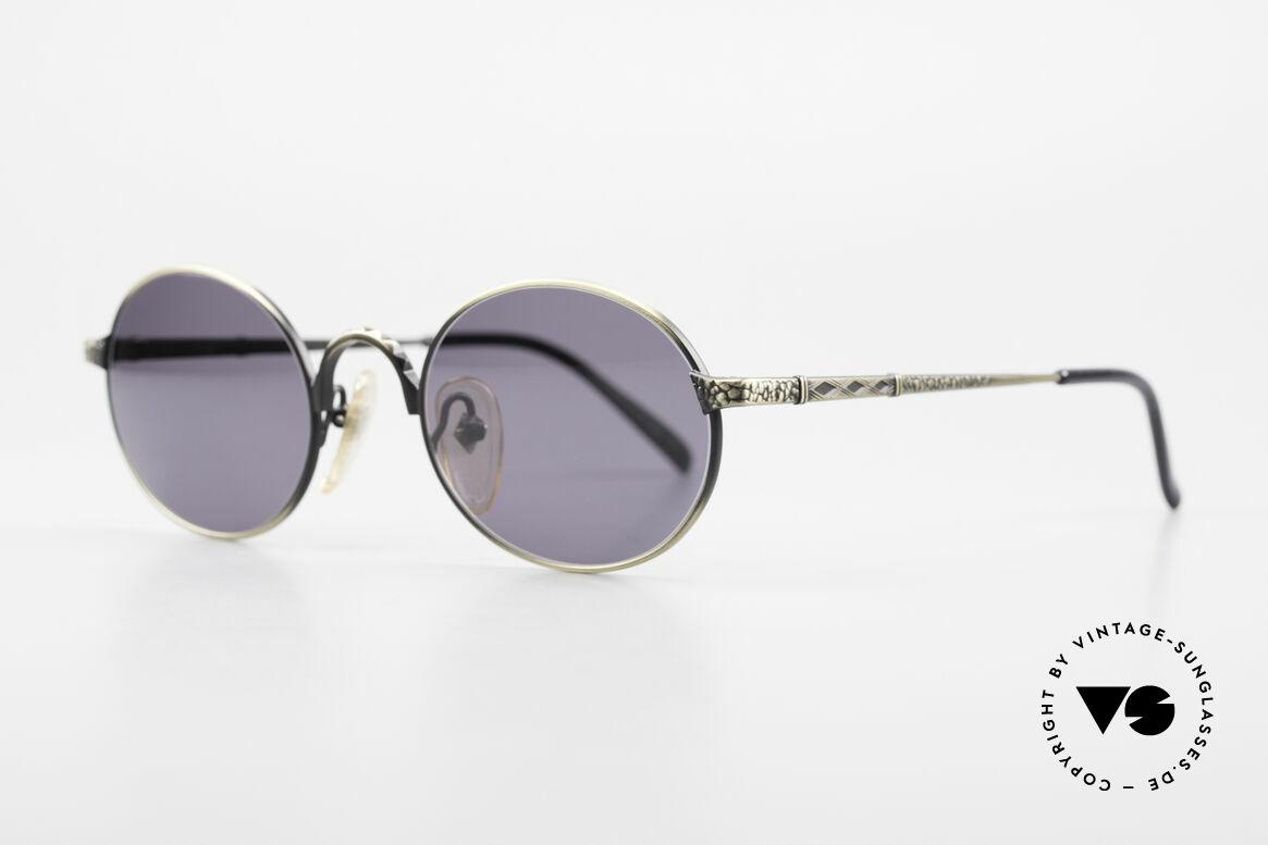 Jean Paul Gaultier 55-9672 Ovale 90er JPG Sonnenbrille, 'smoke gold' Lackierung mit grauen Sonnengläsern, Passend für Herren und Damen