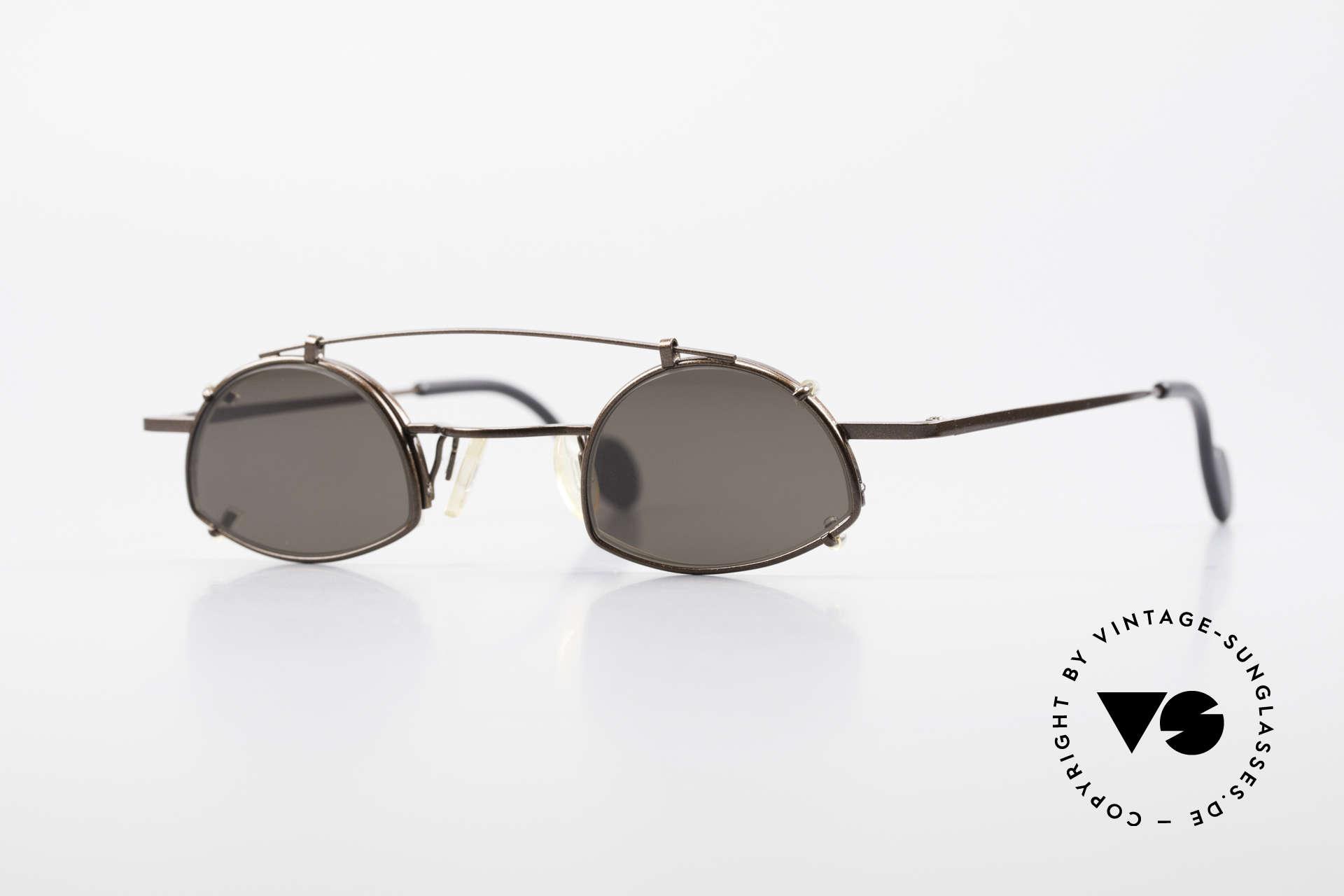 Theo Belgium Poco Kleine Brille mit Sonnenclip, vintage Theo Belgium Brillenfassung + Sonnen-Clip, Passend für Herren und Damen