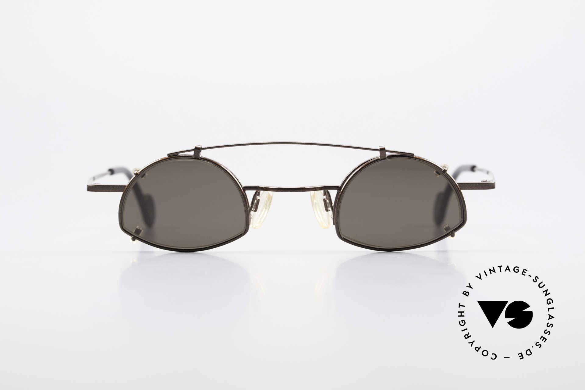 Theo Belgium Poco Kleine Brille mit Sonnenclip, originelles Modell (halb-randlos) mit Clip (Vollrand), Passend für Herren und Damen