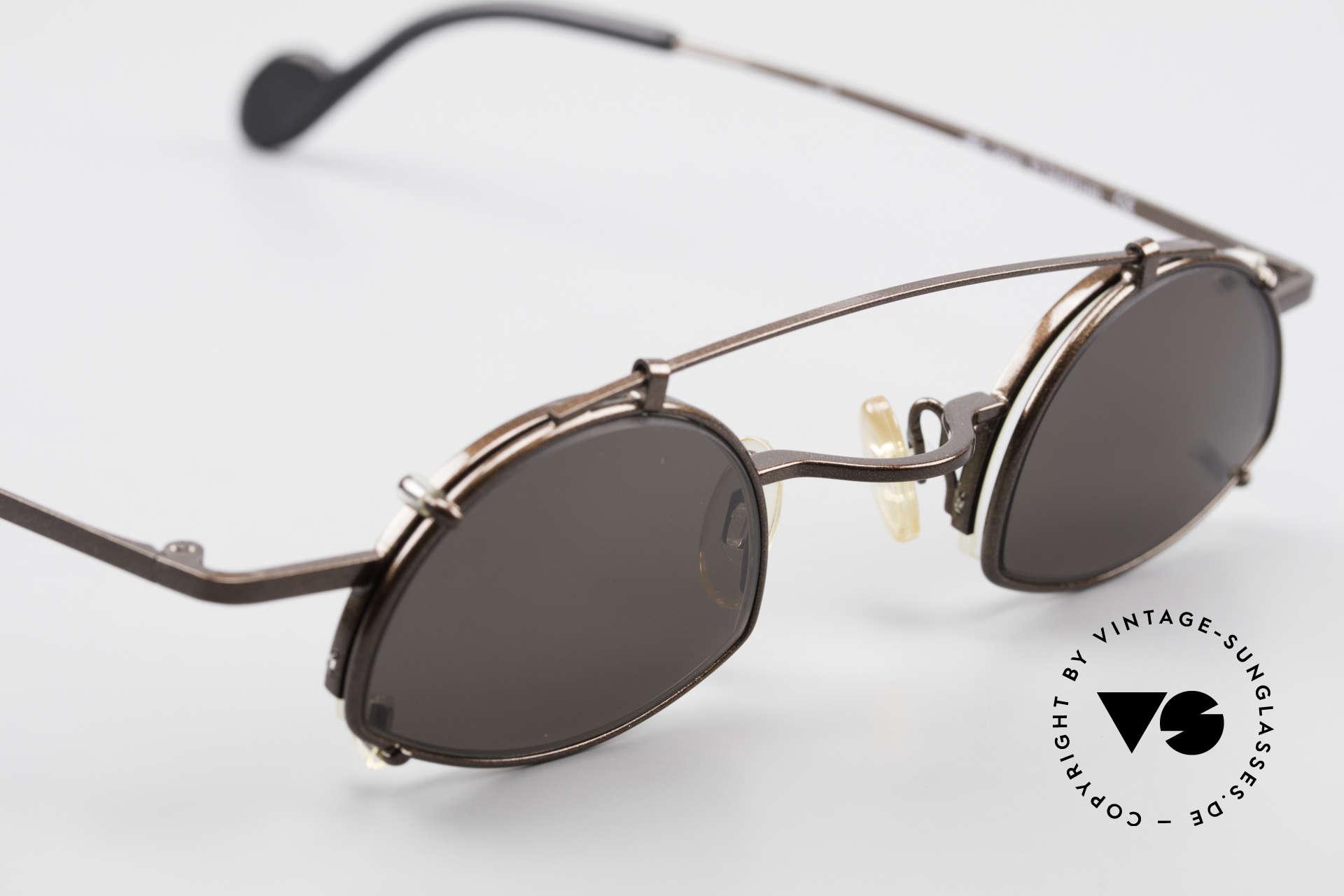 Theo Belgium Poco Kleine Brille mit Sonnenclip, KEINE Retrobrille, sondern ein 1990er Designerstück, Passend für Herren und Damen