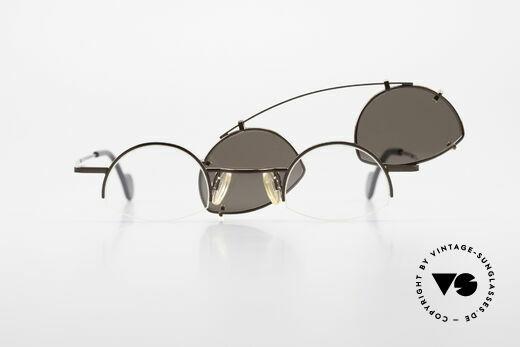 Theo Belgium Poco Kleine Brille mit Sonnenclip, die Fassung kann natürlich beliebig verglast werden, Passend für Herren und Damen