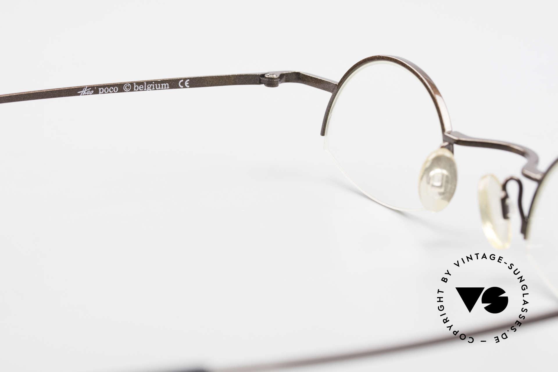 Theo Belgium Poco Kleine Brille mit Sonnenclip, Größe: small, Passend für Herren und Damen