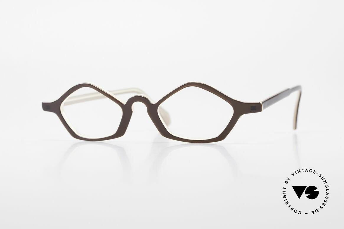 Theo Belgium Polygone Vieleck Brille Aus Kunststoff, vintage 90er Theo Belgium Brille in KLEINER Größe, Passend für Herren und Damen