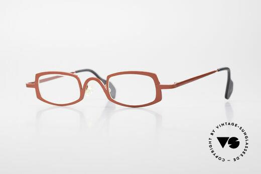 Theo Belgium Rectangle Rote Vintage Brille Damen Details