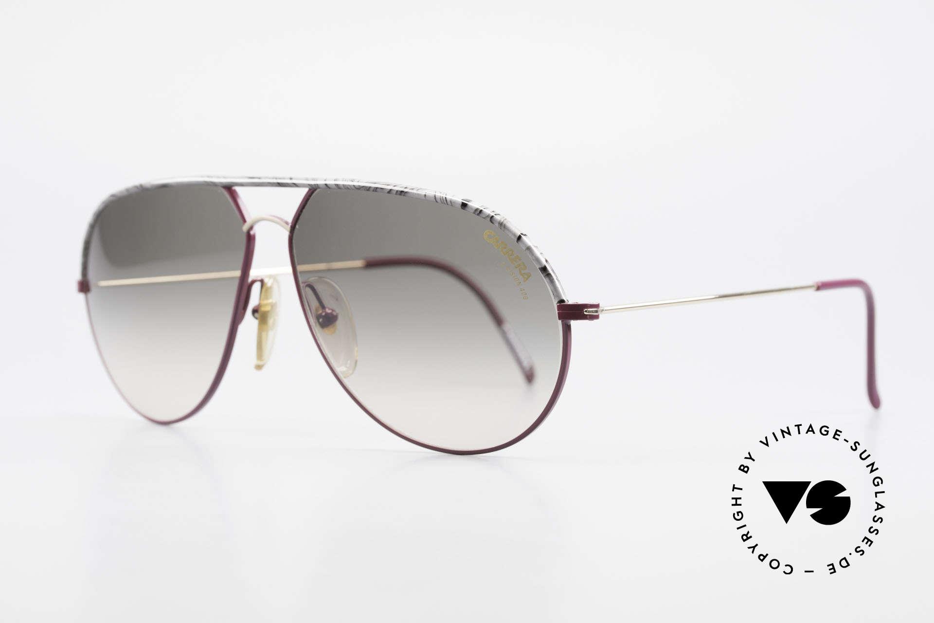 Carrera 5428 Rare Alte Sonnenbrille 80er, weinrot/gold & feiner Oberbalken in Marmor-Optik, Passend für Herren und Damen