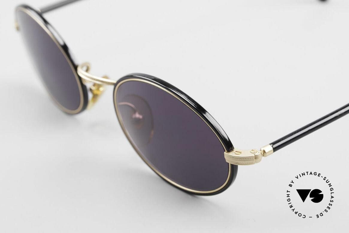 Cutler And Gross 0350 Ovale Vintage Sonnenbrille, sehr elegante Kombination von Materialien und Farben, Passend für Herren und Damen