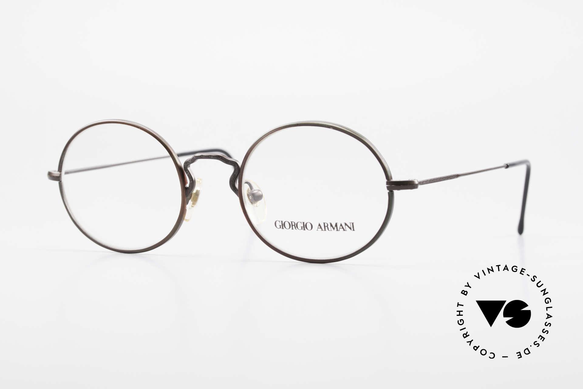 Giorgio Armani 247 Lackierung Glänzt Braun Grün, vintage Designer-Brillenfassung v. Giorgio Armani, Passend für Herren