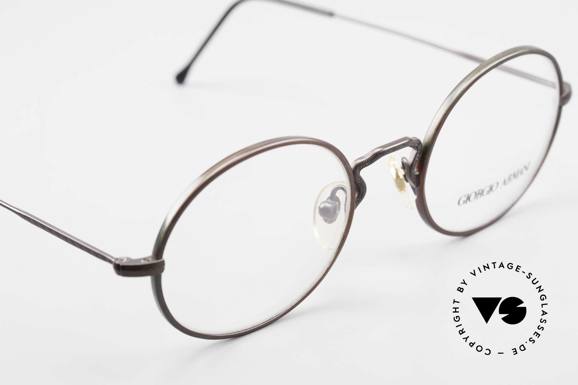 Giorgio Armani 247 Lackierung Glänzt Braun Grün, KEINE Retrobrille, sondern ein 90er Jahre Original, Passend für Herren