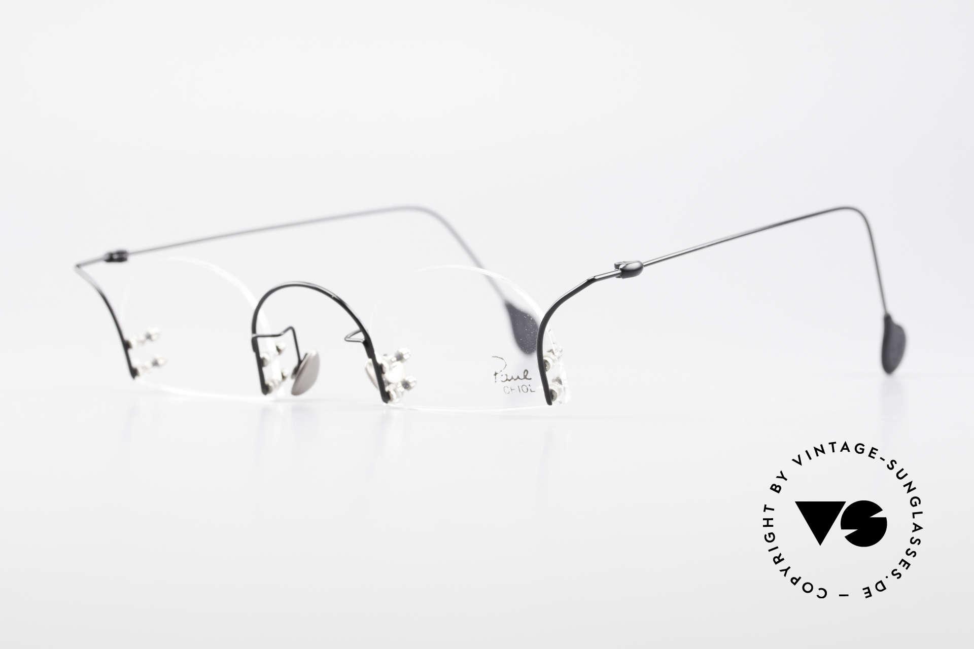Paul Chiol 2000 Randlose Vintage Kunstbrille, filigran ausgeklügelte Formen; schlichtweg mondän, Passend für Herren und Damen