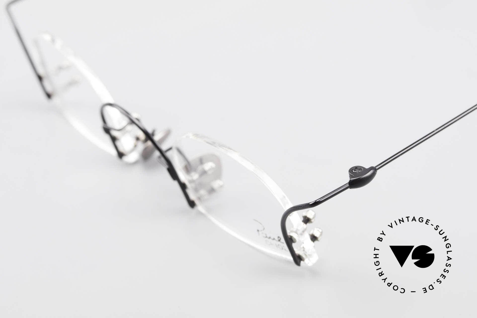 Paul Chiol 2000 Randlose Vintage Kunstbrille, die Fassung ist für optische Gläser gemacht, ABER:, Passend für Herren und Damen