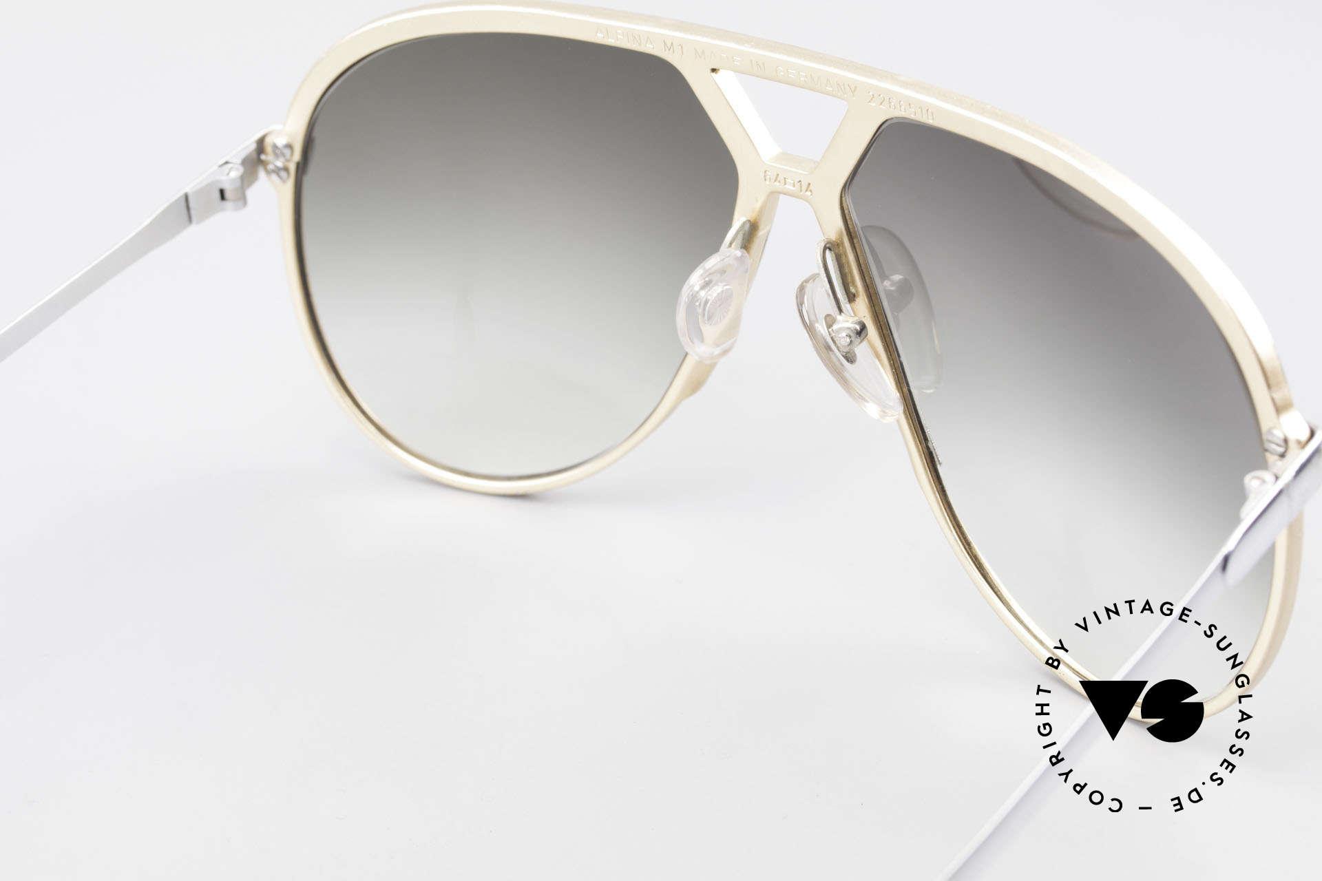 Alpina M1 Erste 80er Generation Brille, in Handarbeit gefertigt (West Germany), Gr. 64-14, Passend für Herren