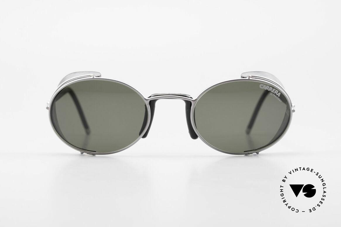 Carrera 5580 90er Sportbrille Steampunk, silber-schwarzer Rahmen in ungewöhnlicher Form, Passend für Herren und Damen