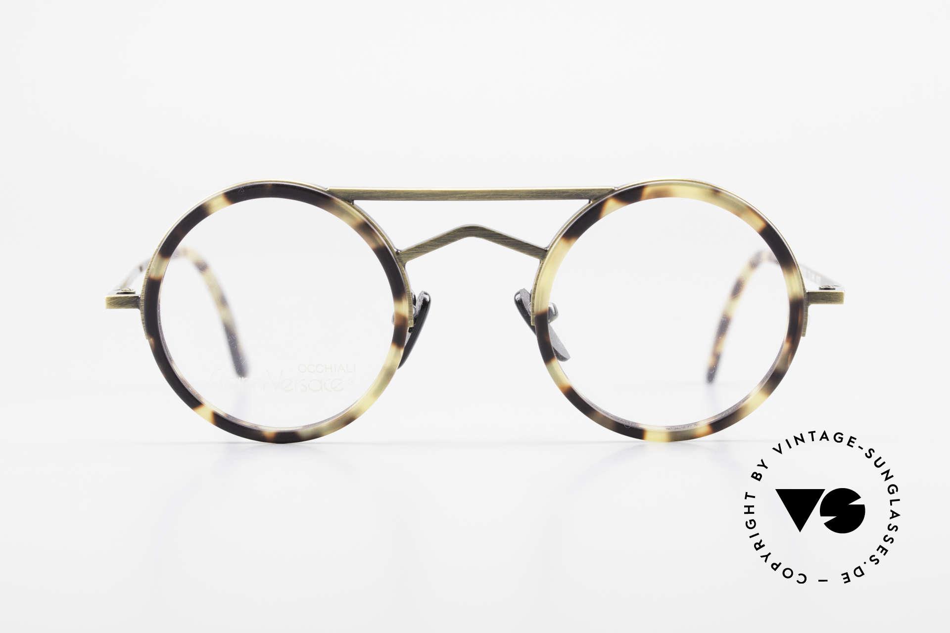 Gianni Versace 620 Runde 90er Vintage Brille, geometrische Elemente mit markanter Doppelbrücke, Passend für Herren und Damen