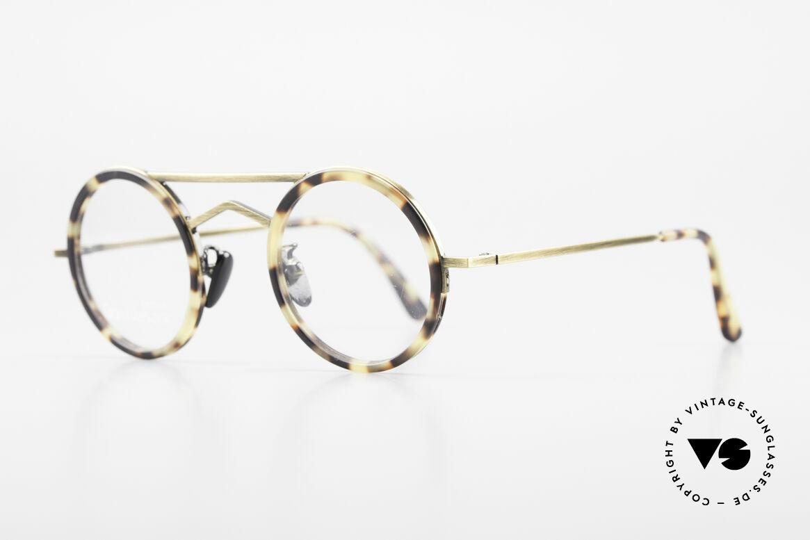 Gianni Versace 620 Runde 90er Vintage Brille, edle Farb-Kombination: antik messing & schildpatt, Passend für Herren und Damen