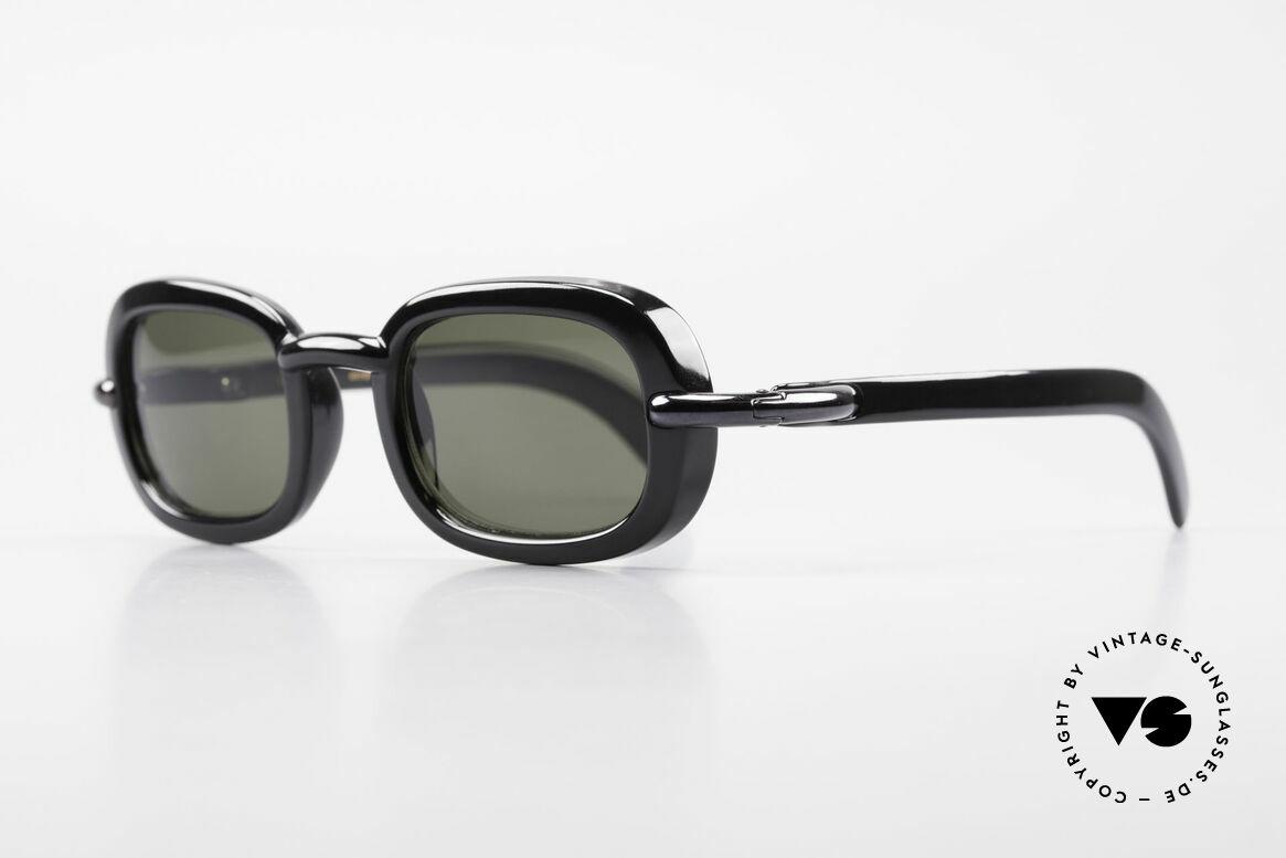 Karl Lagerfeld 4117 Rare 90er Damen Sonnenbrille, klassisch schwarzer Rahmen mit grauen Sonnengläsern, Passend für Damen