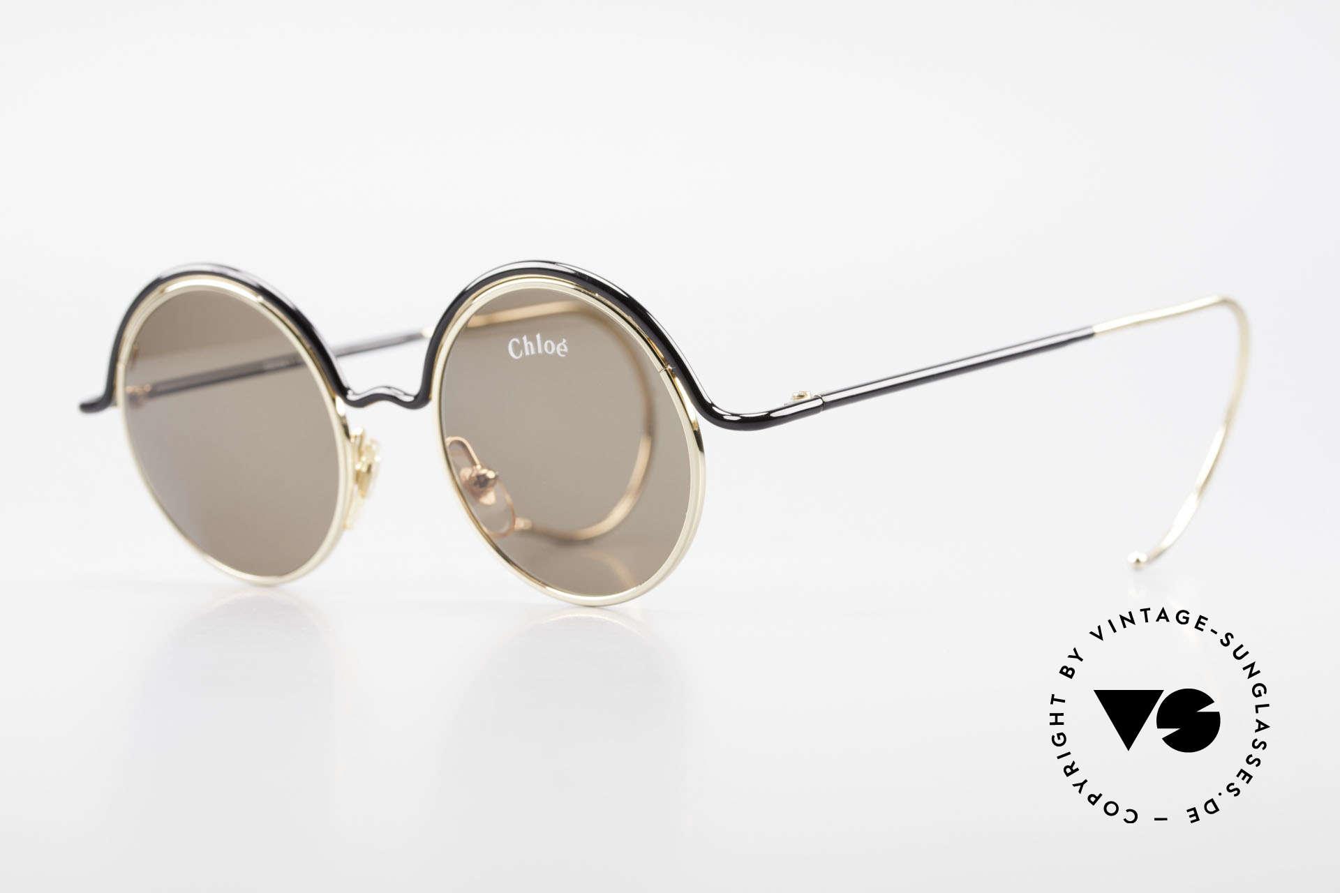 Chloe Show 1 Runde Sonnenbrille Damen, sehr elegantes Farbkonzept in schwarz und gold, Passend für Damen