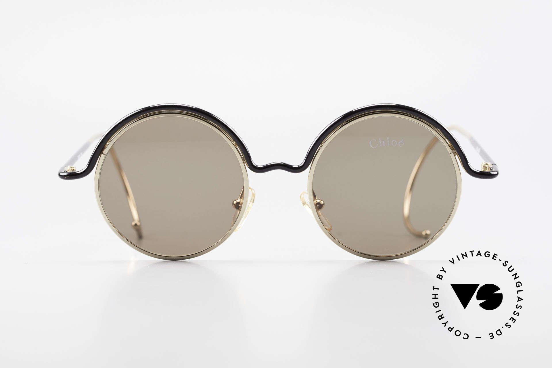 Chloe Show 1 Runde Sonnenbrille Damen, zeitlose 1990er Jahre Brille mit Sport-Bügeln, Passend für Damen