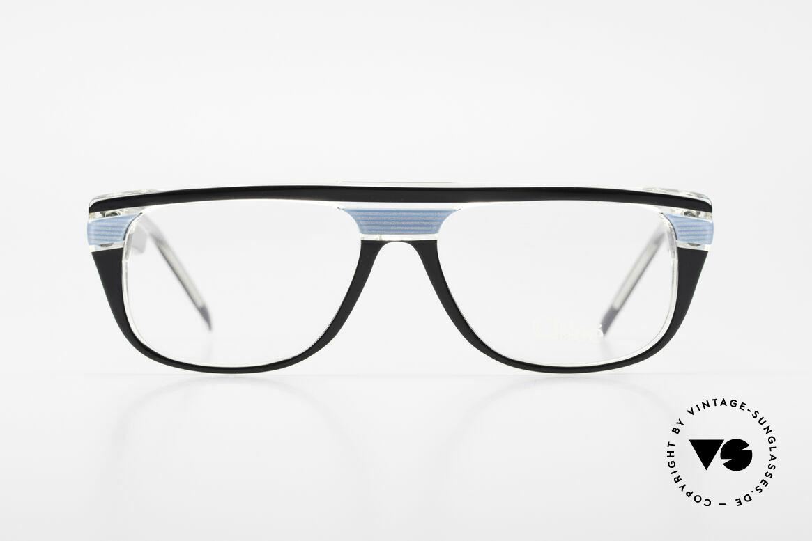 Chloe 8361 Rare Alte 80er Vintage Brille, tolles Farbkonzept in 'hellblau-kristall-schwarz', Passend für Herren und Damen