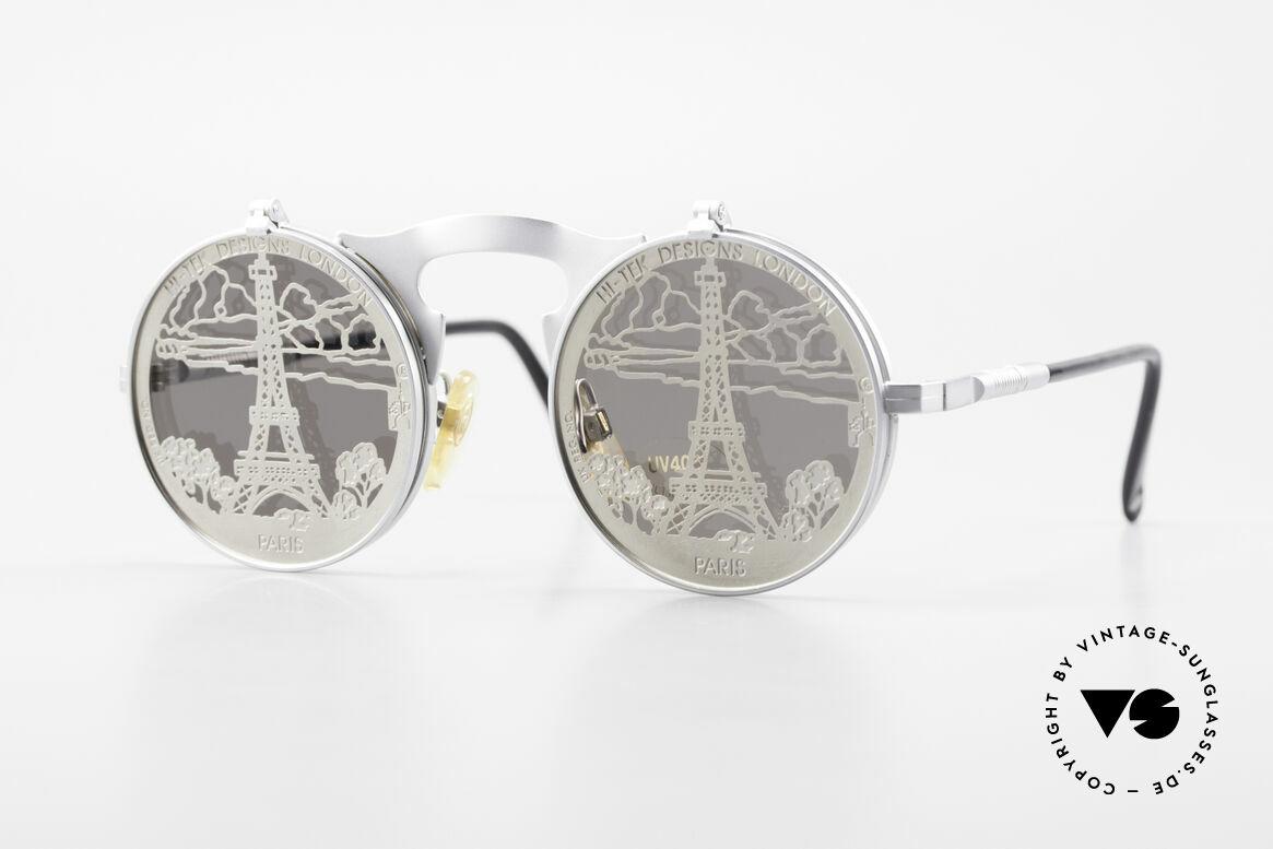 Hi Tek Paris Mit Blenden Zum Hochklappen, Hi-Tek Sonnenbrille Modell Paris von 1992, Steampunk, Passend für Herren und Damen