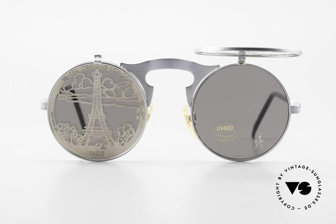 Hi Tek Paris Mit Blenden Zum Hochklappen, runde, retro-futuristische Brille von HI-TEK LONDON, Passend für Herren und Damen