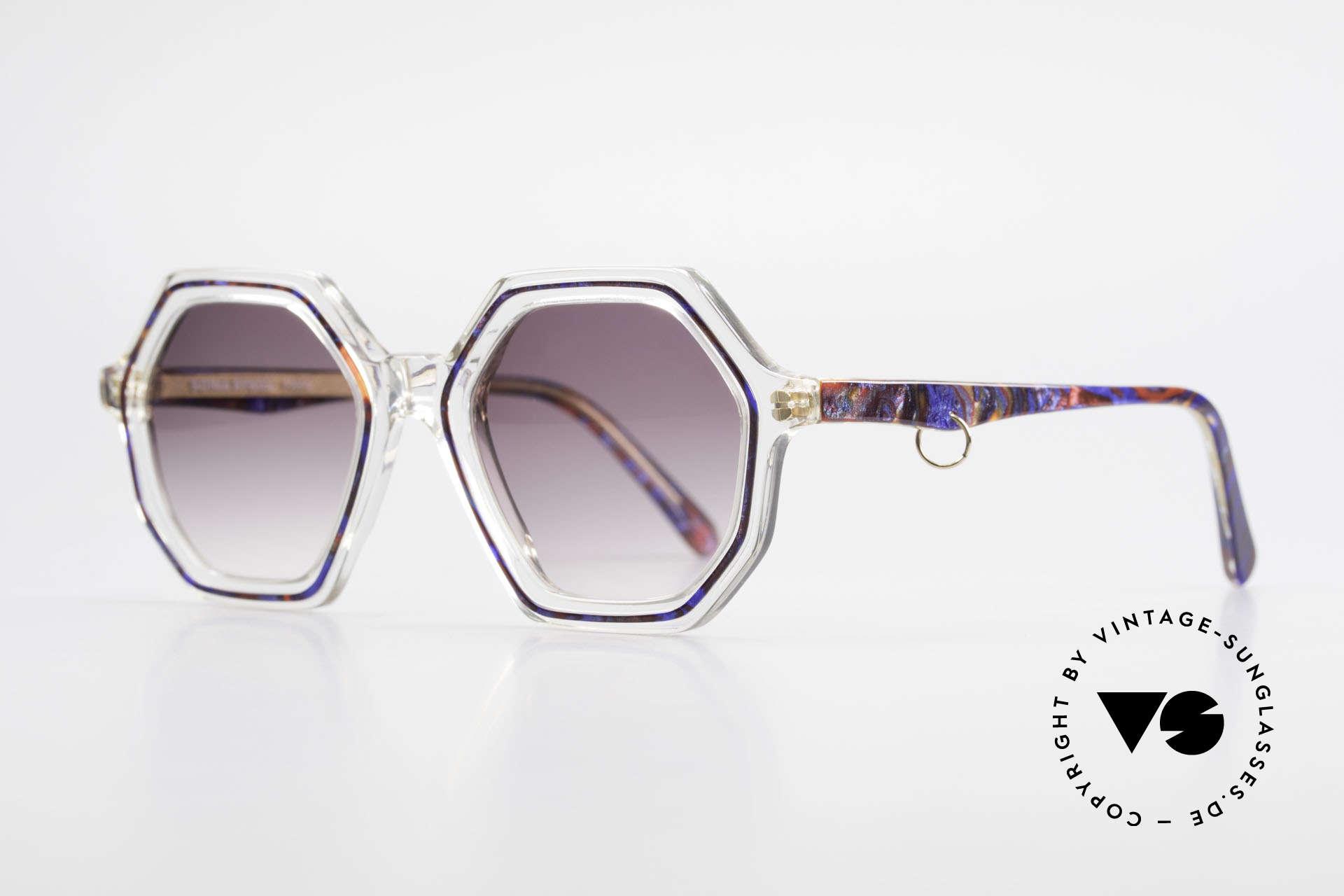 Sonia Rykiel SR756 Achteckige 70er Sonnenbrille, transparenter Rahmen mit blau & rot (+ goldener Ring), Passend für Damen