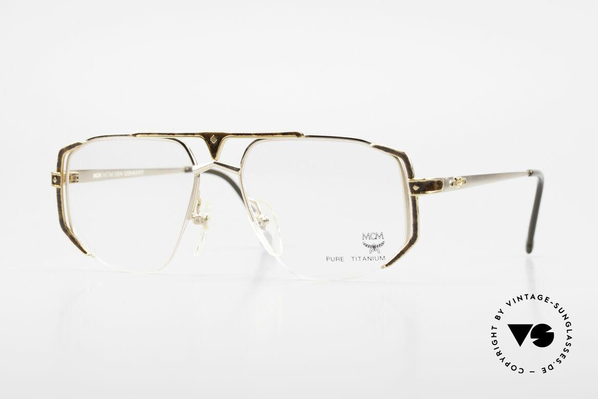 MCM München 5 Pure Titanium Brille Vergoldet, alte MCM Designer-Brillenfassung aus den 90ern, Passend für Herren