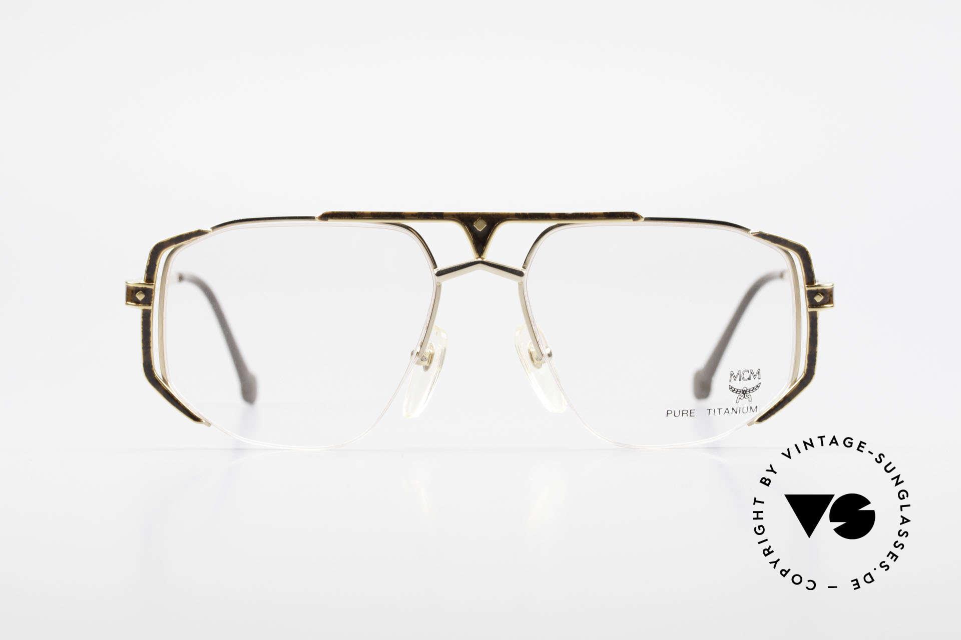 MCM München 5 Pure Titanium Brille Vergoldet, pure Titanium, vergoldet und Wurzelholz-Dekor, Passend für Herren