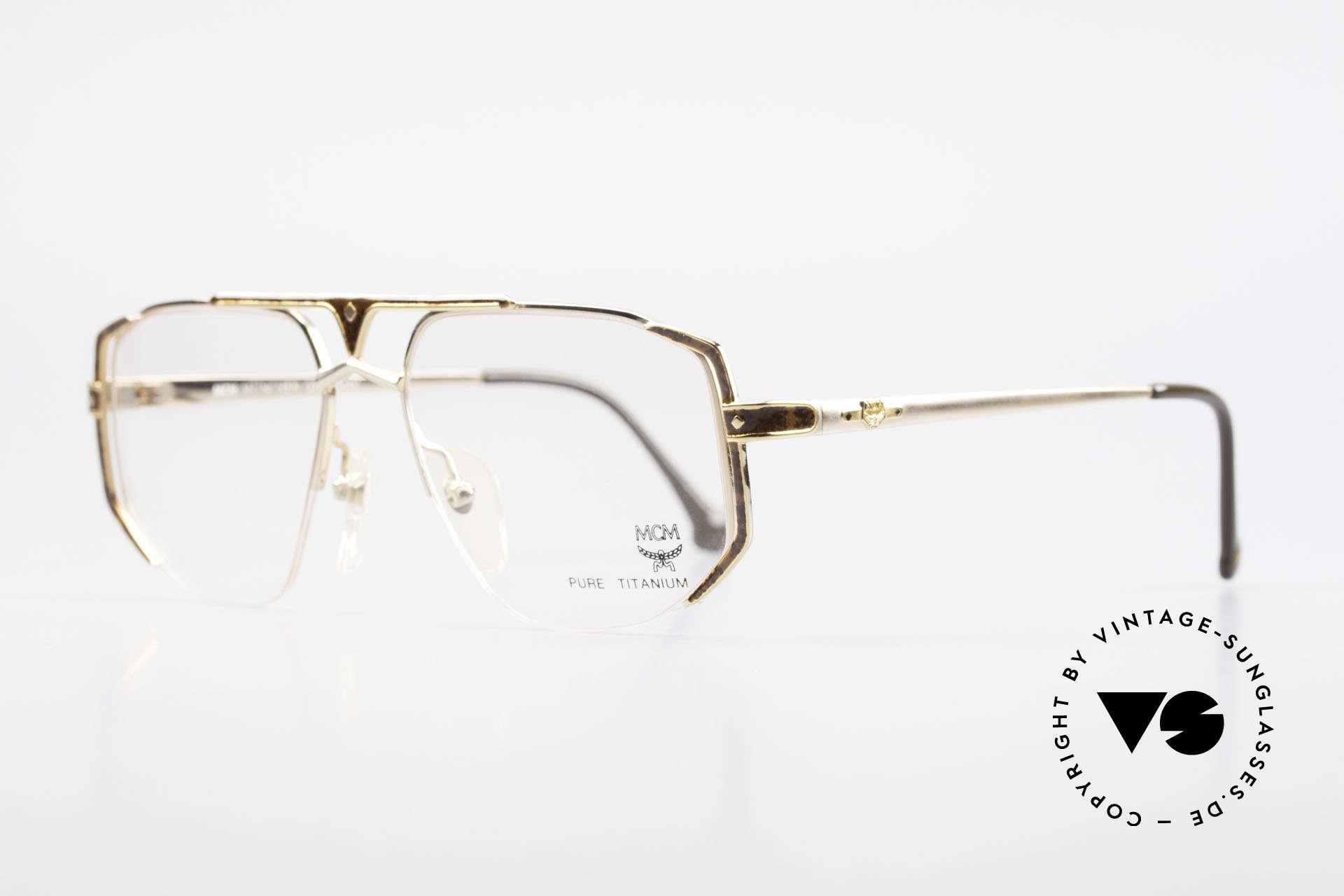 MCM München 5 Pure Titanium Brille Vergoldet, edle 90er Brille mit Seriennummer; Top-Qualität, Passend für Herren