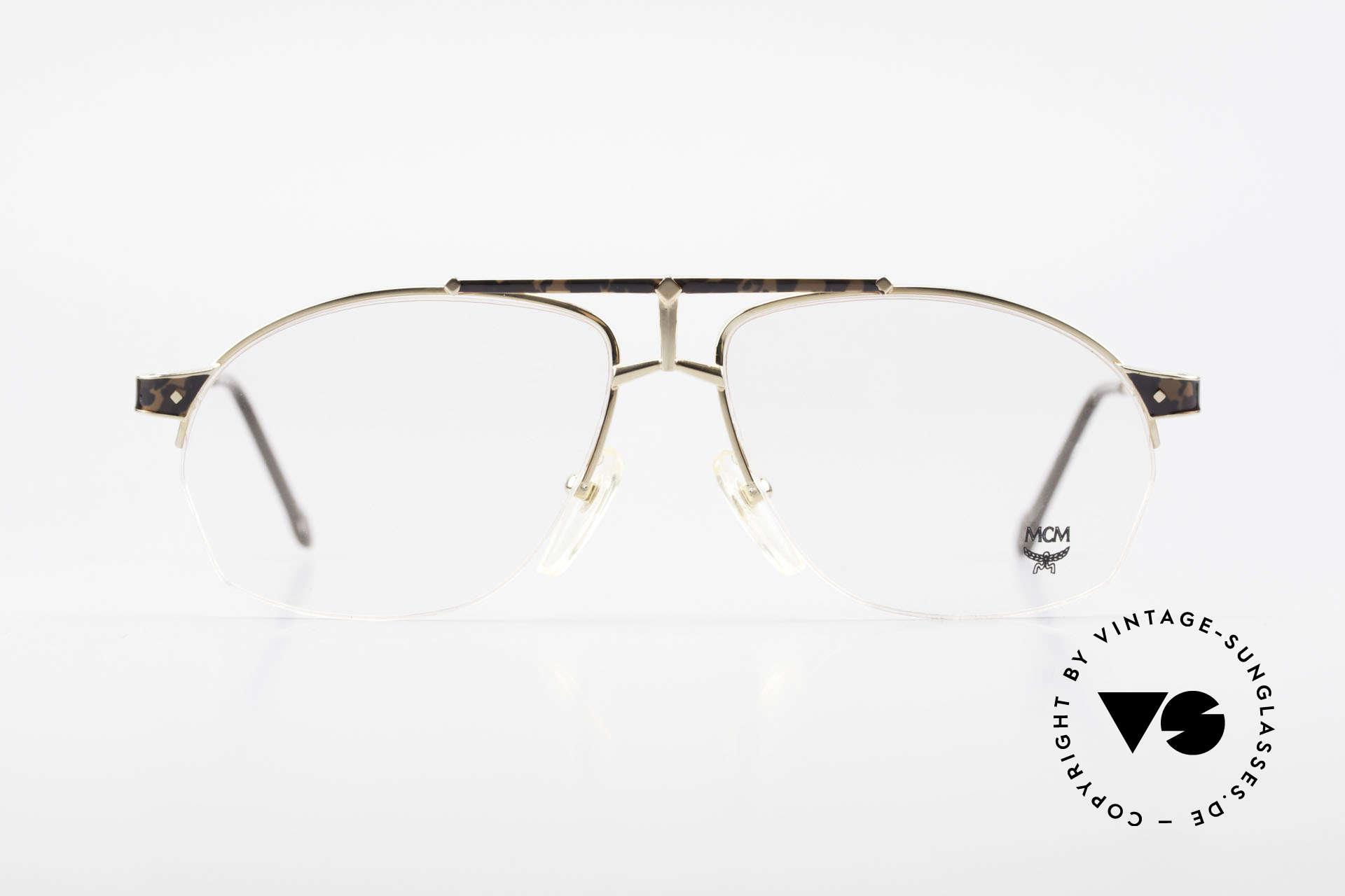 MCM München 10 Vergoldete Brille Wurzelholz, vergoldeter Rahmen mit Wurzelholz-Applikation, Passend für Herren