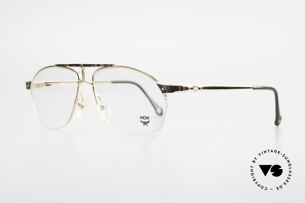MCM München 10 Vergoldete Brille Wurzelholz, edle 90er Brille mit Seriennummer; Top-Qualität, Passend für Herren