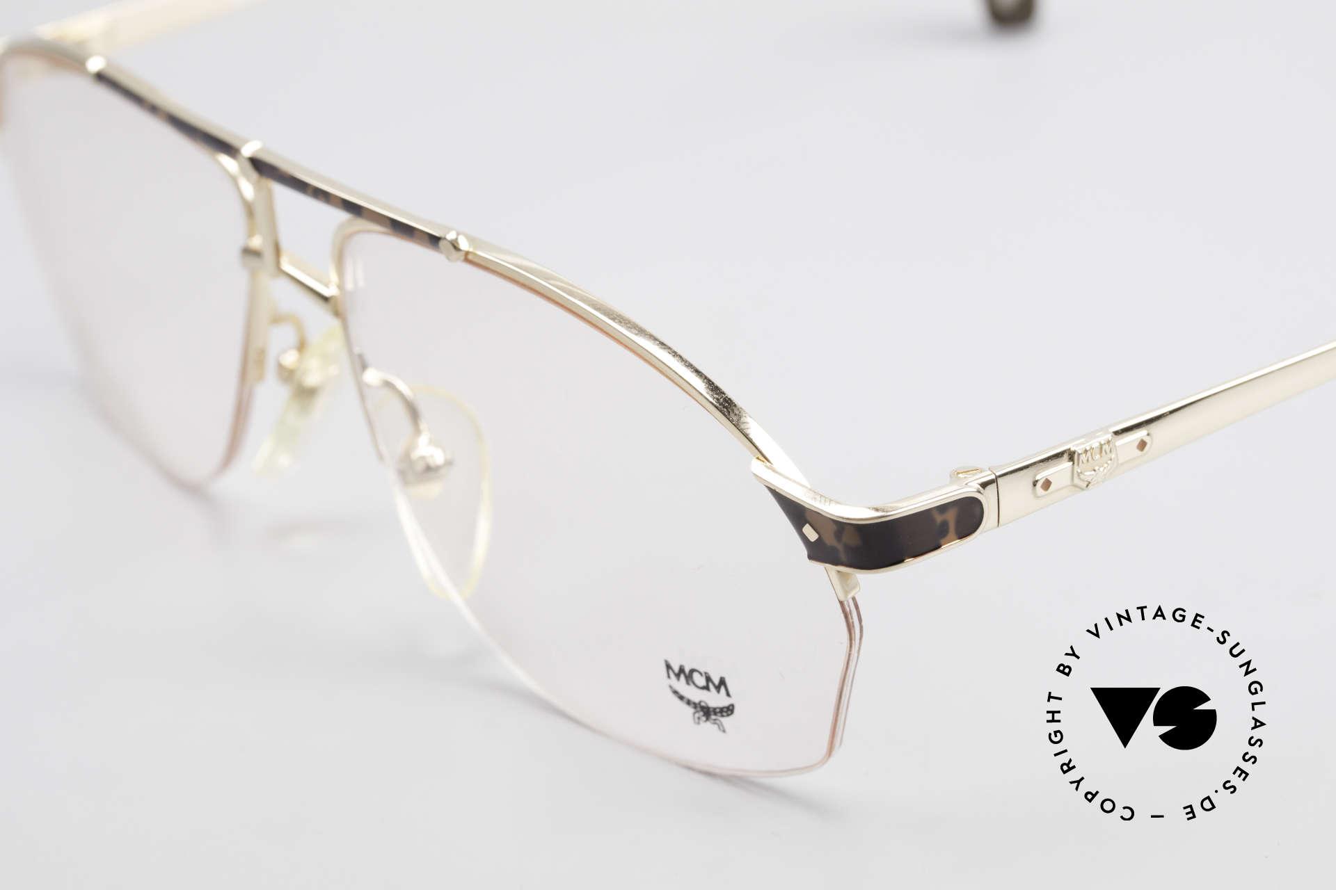 MCM München 10 Vergoldete Brille Wurzelholz, enorm komfortabel (halb randlos); in Größe 56/22, Passend für Herren