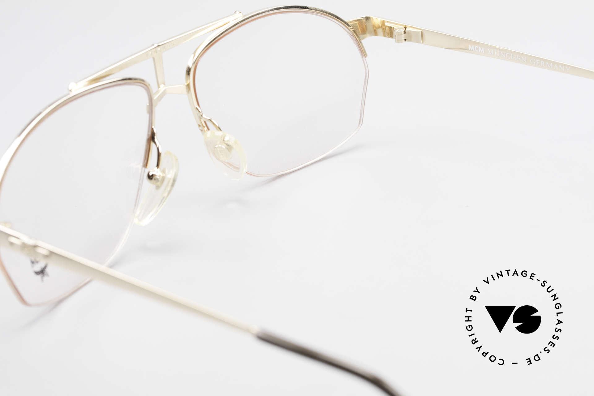MCM München 10 Vergoldete Brille Wurzelholz, KEINE Retromode; ein mind. 25 Jahre altes Unikat!, Passend für Herren
