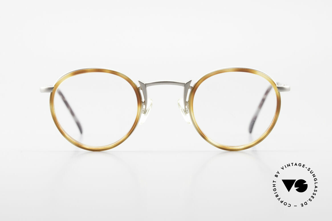 Freudenhaus Bido Runde 90er Designer Brille, exzellente Materialkombination (Kunststoff & Titan), Passend für Herren und Damen