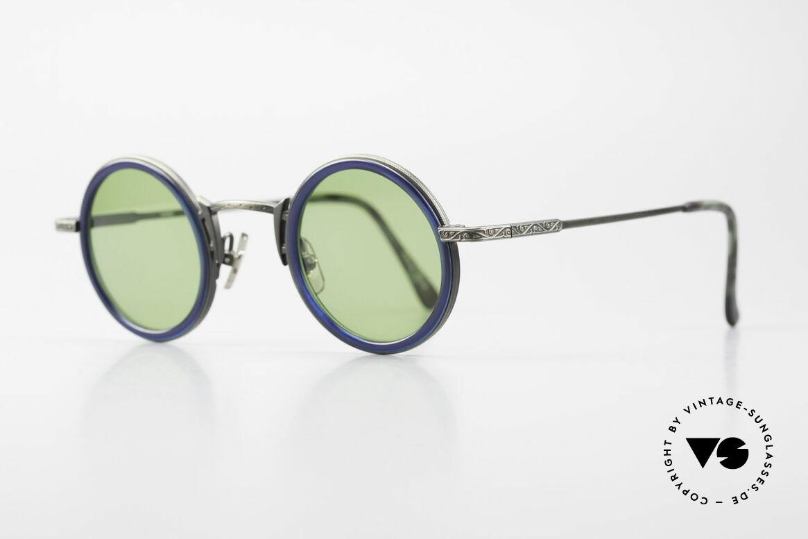Freudenhaus Domo Runde Designer Sonnenbrille, geniale Lackierung: Metall mit grünlichem Farbstich, Passend für Herren