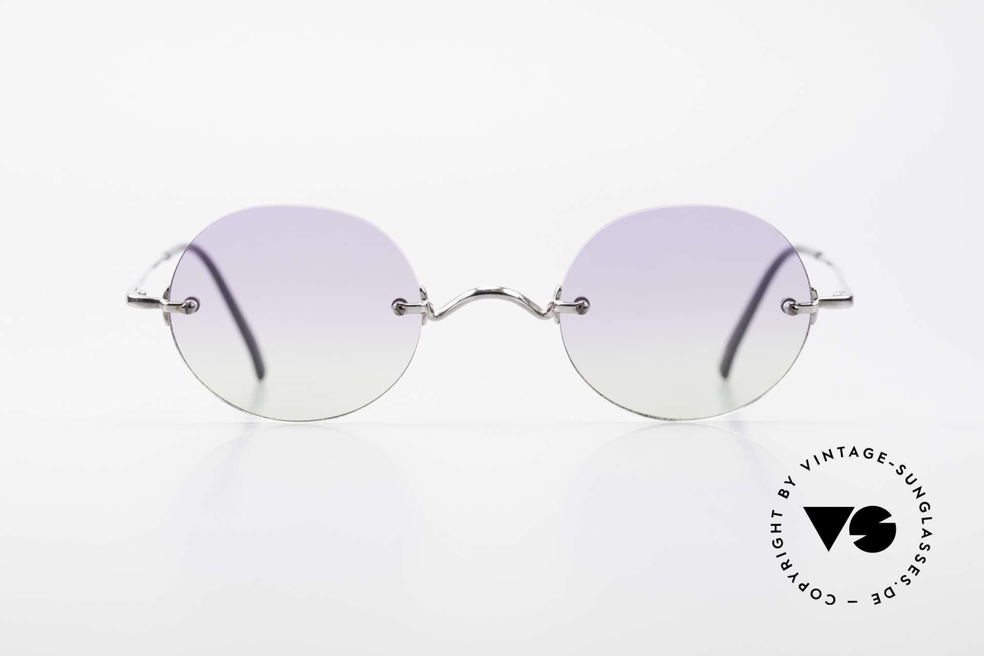 Freudenhaus Flemming Runde Sonnenbrille Randlos, silberne Metallfassung aus den 90ern, made in Japan, Passend für Herren und Damen