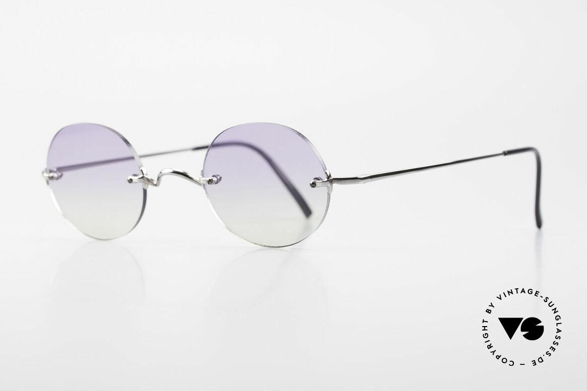 Freudenhaus Flemming Runde Sonnenbrille Randlos, Sonnengläser zweifach Verlauf (von violett zu grün), Passend für Herren und Damen