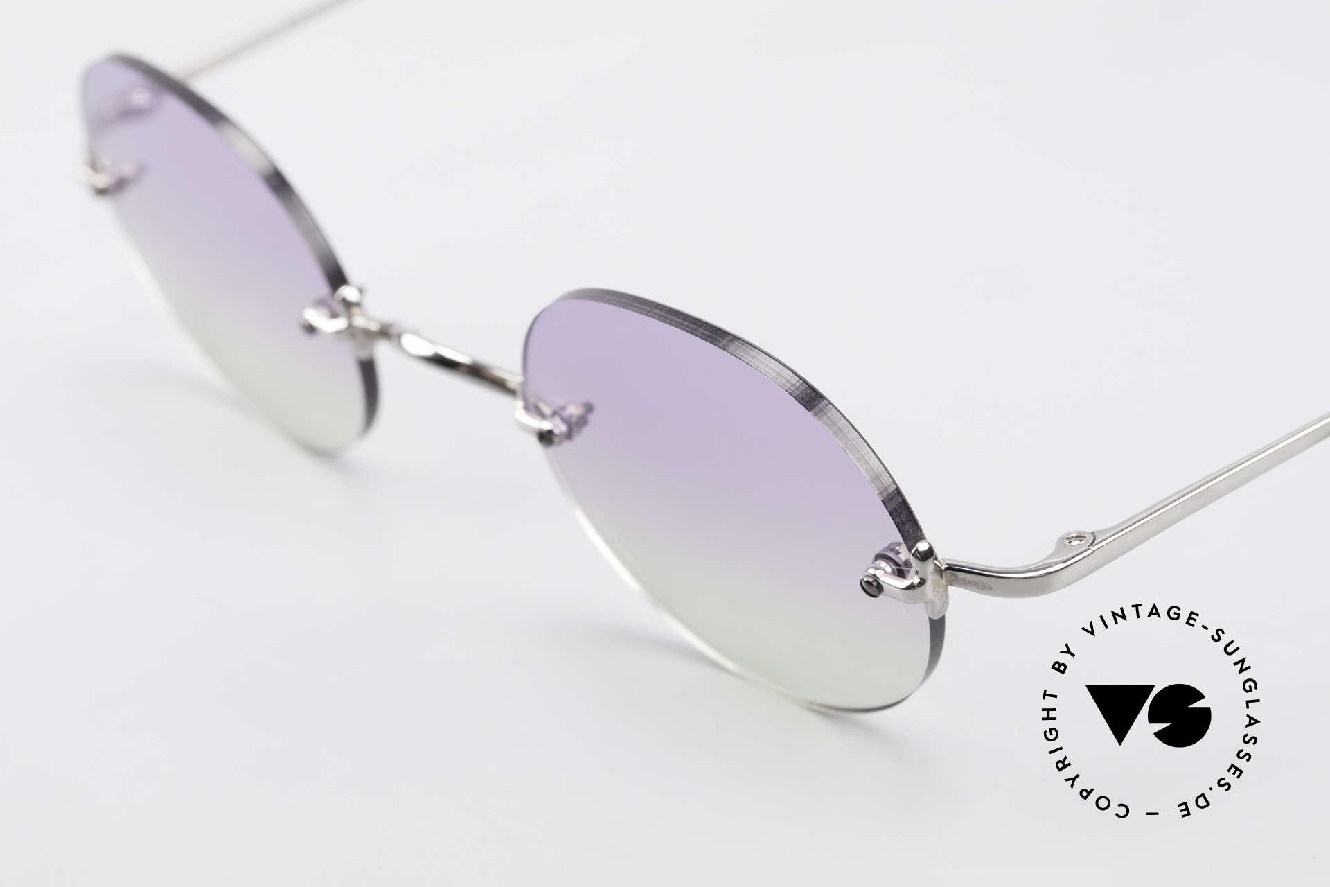 Freudenhaus Flemming Runde Sonnenbrille Randlos, ungetragen (wie alle unsere vintage Designerbrillen), Passend für Herren und Damen
