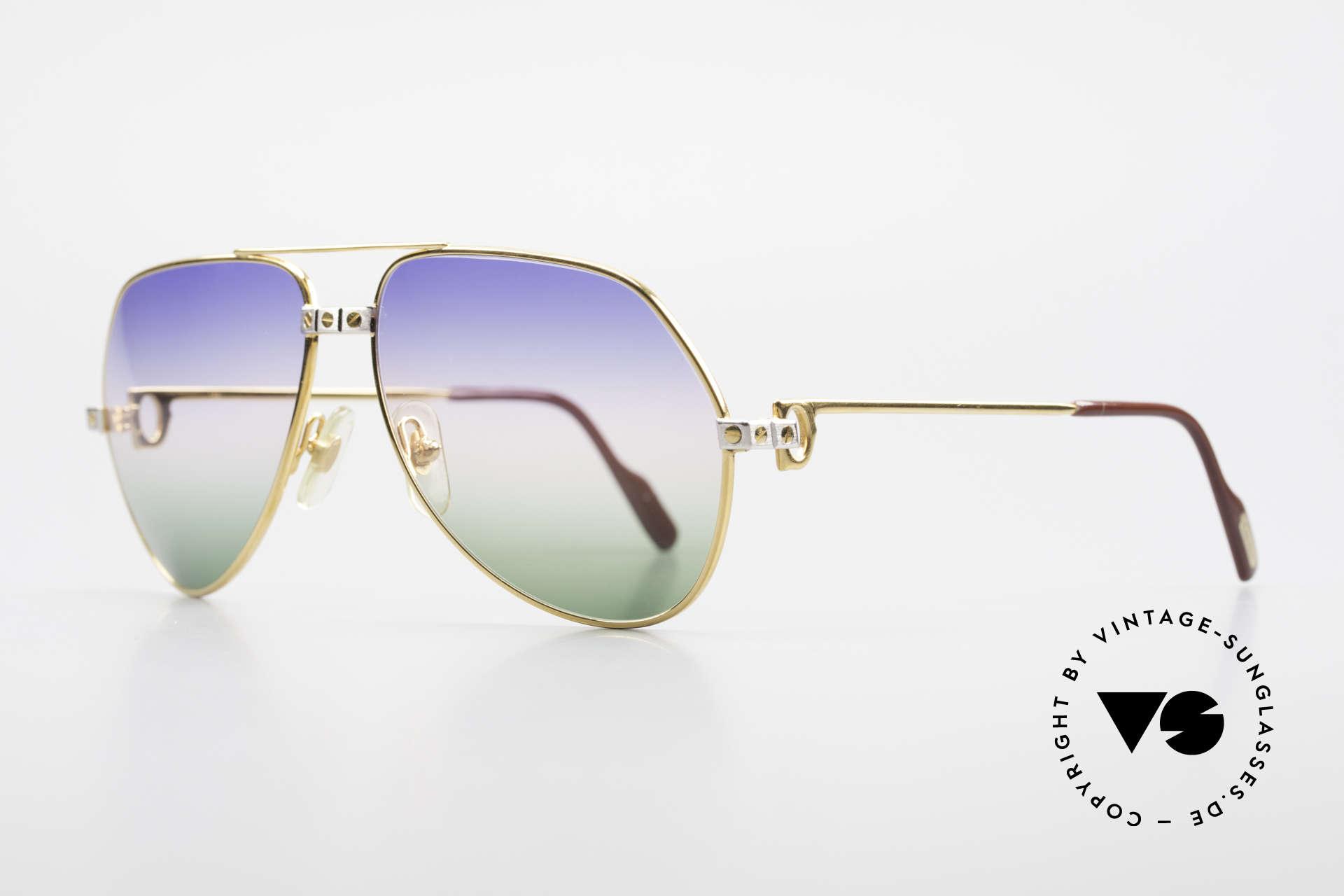 Cartier Vendome Santos - M Rare Vintage Brille 80er Luxus, Santos-Dekor (3 Schrauben): Medium Größe 59-14, 140, Passend für Herren und Damen