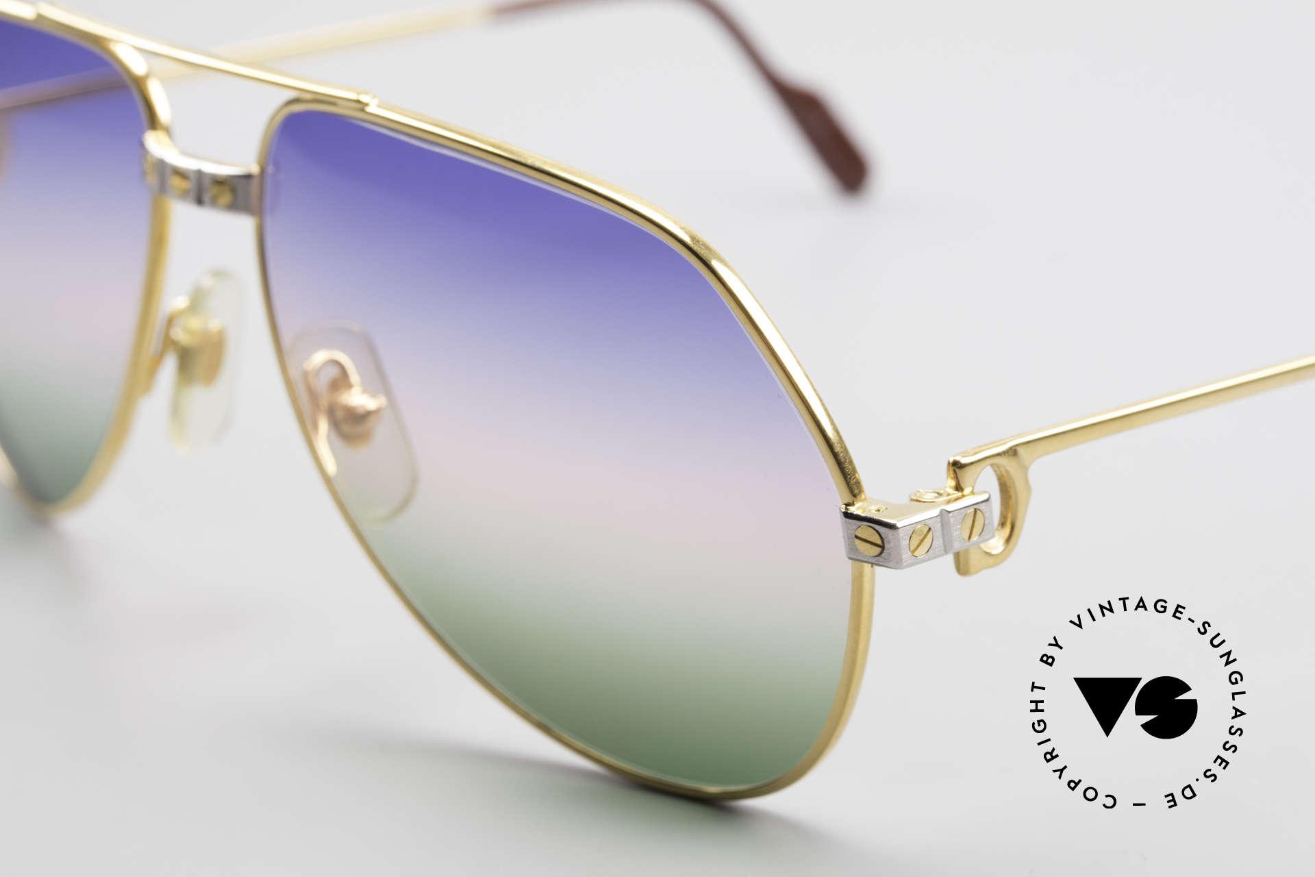Cartier Vendome Santos - M Rare Vintage Brille 80er Luxus, ultra rare, neue 'TRICOLOR customized' Verlaufsgläser, Passend für Herren und Damen