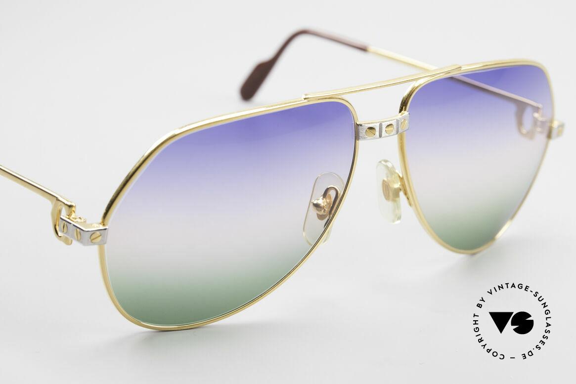 Cartier Vendome Santos - M Rare Vintage Brille 80er Luxus, von Himmelblau über Morgenrot zu Grasgrün (genial), Passend für Herren und Damen