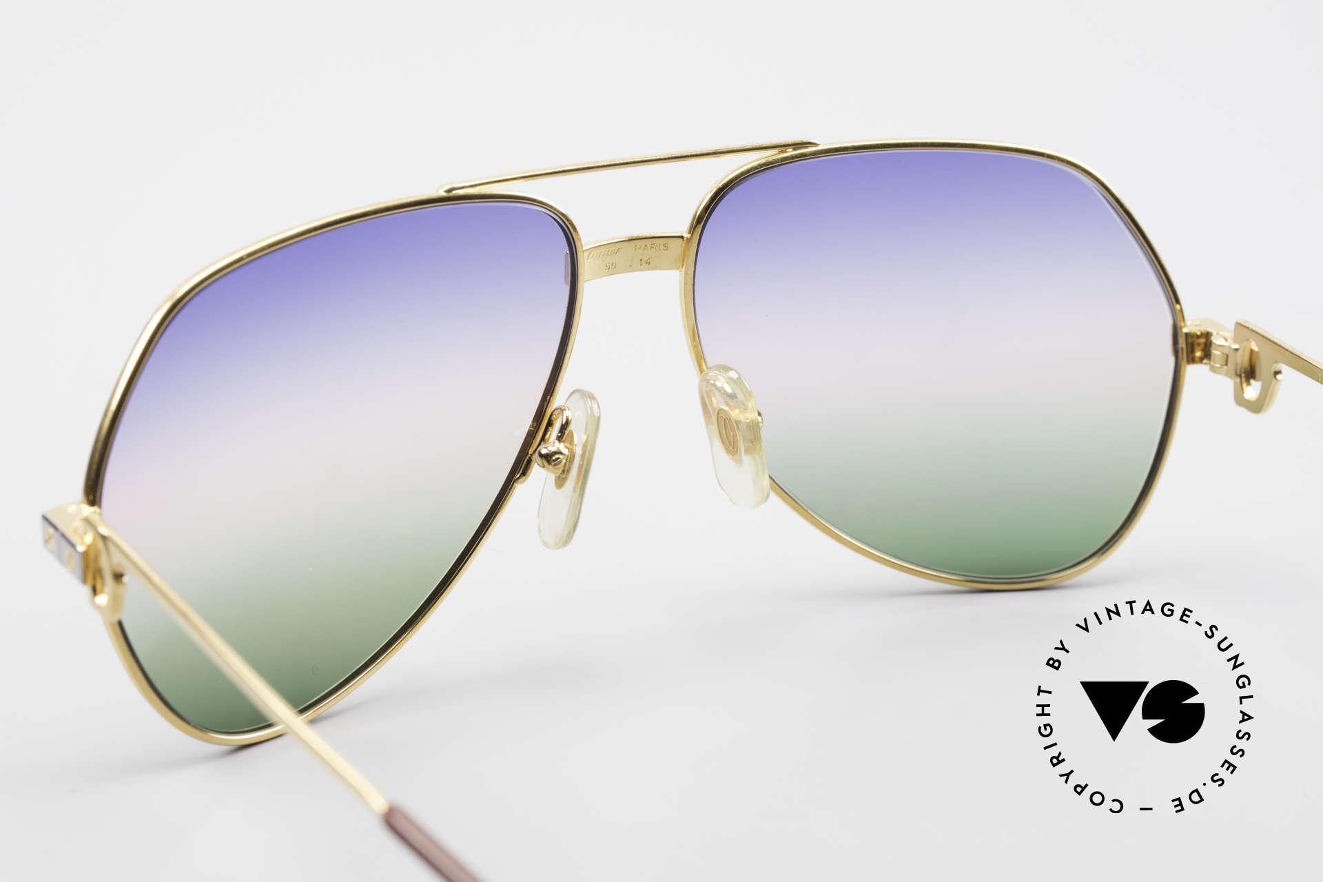 Cartier Vendome Santos - M Rare Vintage Brille 80er Luxus, 2nd hand Modell im neuwertigen Zustand + Gucci Etui, Passend für Herren und Damen