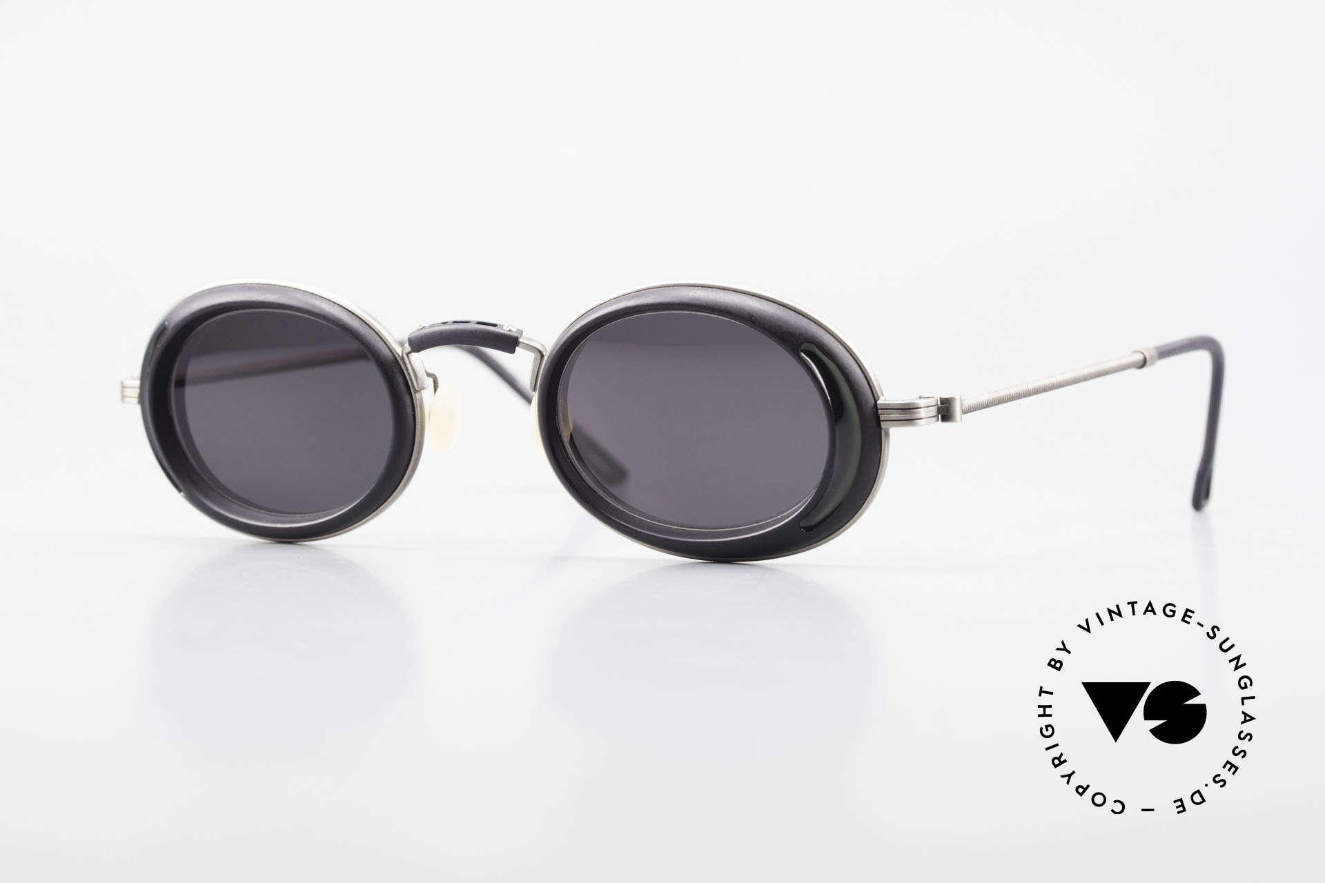 DOX 05 ATS Industrial Brille Gaultier Stil, rare, alte DOX Sonnenbrille von 1995, made in JAPAN, Passend für Herren und Damen
