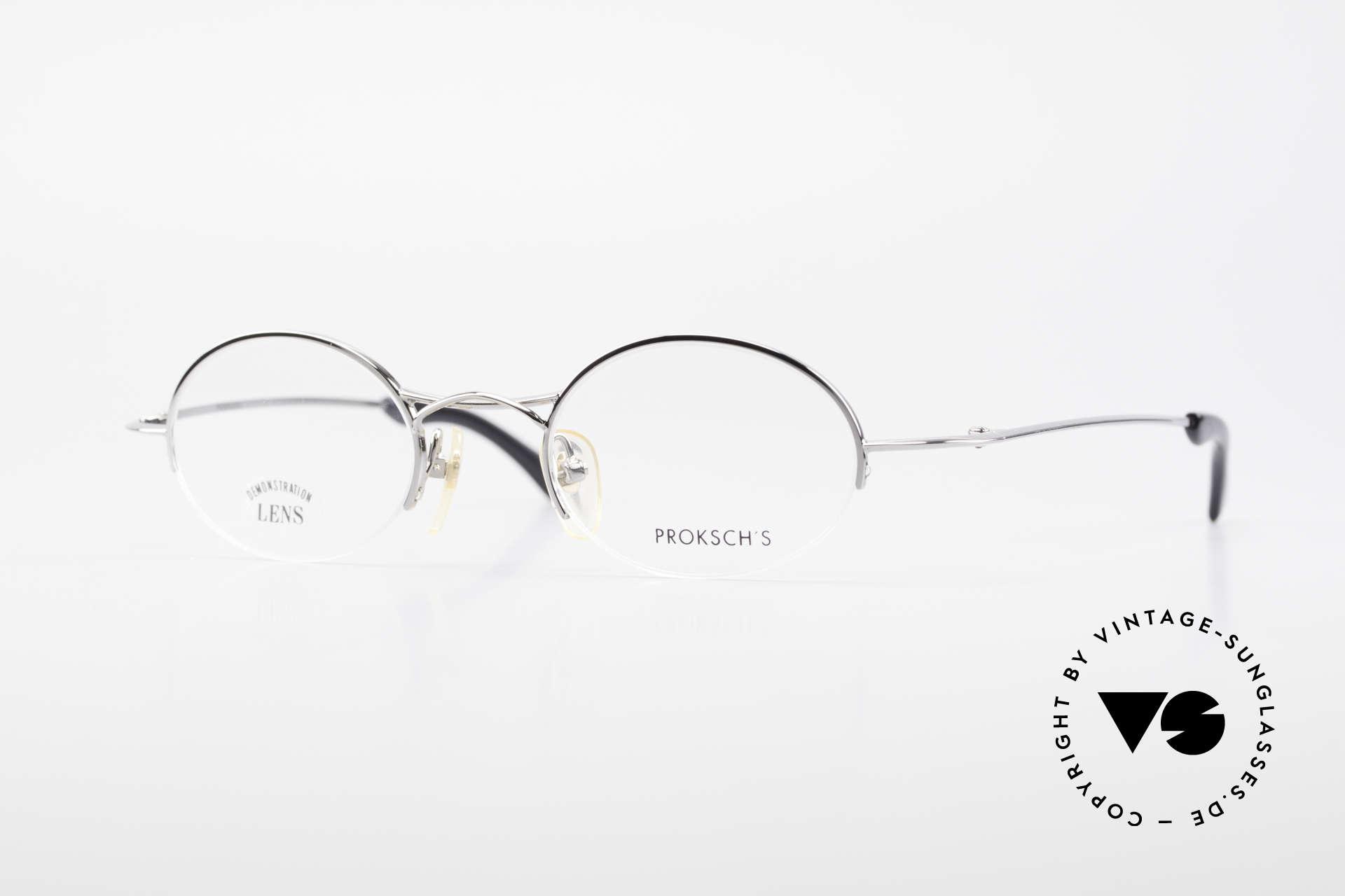 W Proksch's M35/2 Halb Randlos 90er Avantgarde, ovale Proksch's vintage Brillenfassung von 1995/96, Passend für Herren